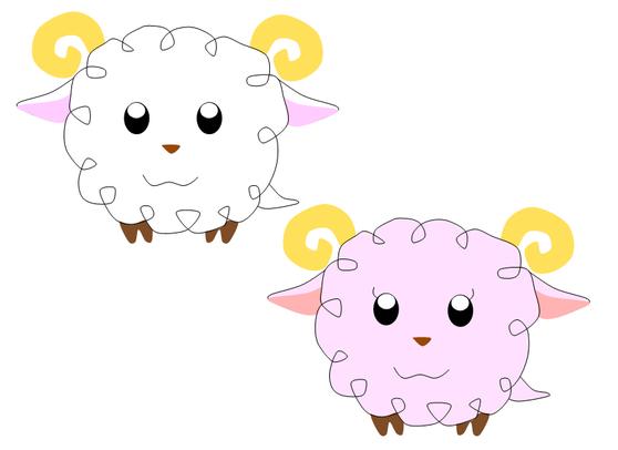 羊イラスト2 ふわふわなアニメキャラのような(≧▽≦)