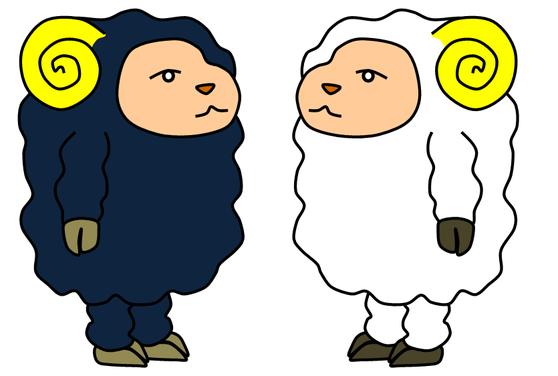 羊イラスト1 ボ~っとした感じがシュールで可愛い(≧▽≦)