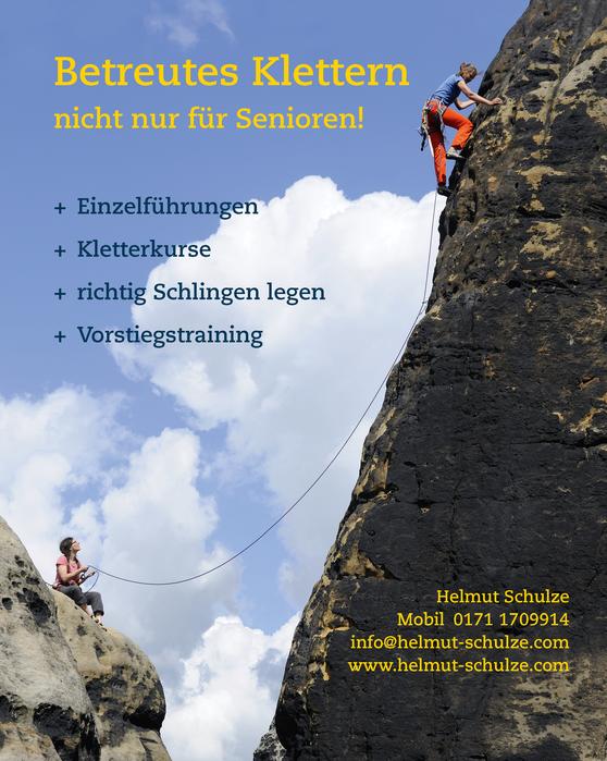 Klettern und Kletterkurse in der Sächsischen Schweiz  *  Motiv: Schrammtorwächter, Alter Weg