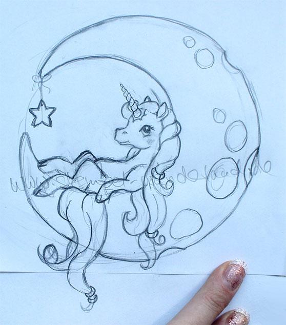 Skizze Einhorn im Mond Wip zu einem Digi Stamp Stempel und Plottdatei von www.stempel-wunderland.de