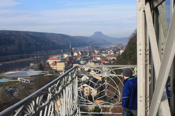 vom Personenaufzug nach Bad Schandau
