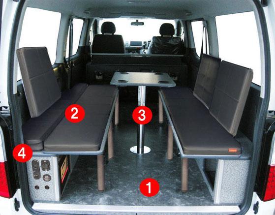 ネッツ静浜のディーラーカスタムASKは、キャンピングカー・トランポをはじめハイエースの内装車中泊カスタムをご提案します。