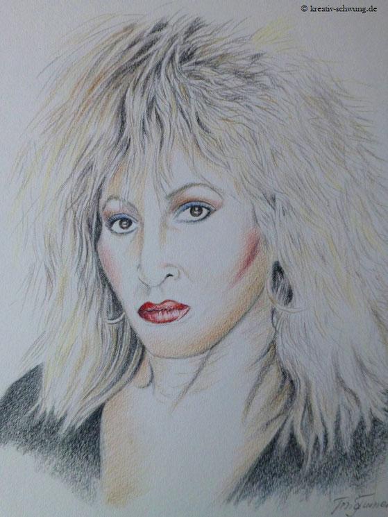 Tina in den 80er Jahren, Farbstifte 2019