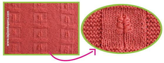 Cuadrado tejido en dos agujas con hoja bordada