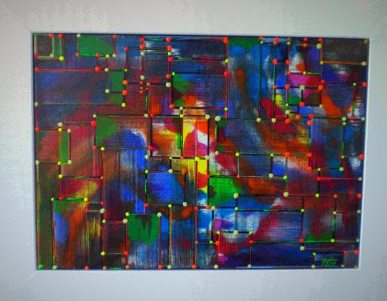 Im ersten Moment ein sehr düsteres Acrylbild. Mit der zeit tauchen jedoch immer mehr helle grelle Punkte und Linien auf. Rin teil der Farben beinhaltet selbst leuchtend Pigmente.