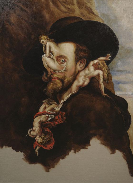 """Conversation avec Pierre Paul Rubens """"L'éveil des sens"""" - Huile sur toile marouflée 73X100"""