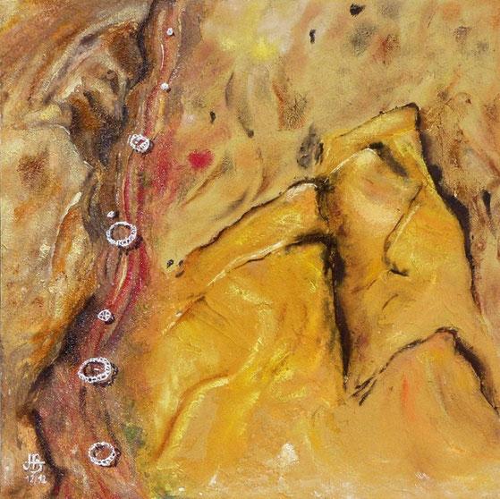 Nil Tahrir - 50x50cm Peinture 3D sur bois - Sables, Acryliques, Médiums - Jean-Pierre Beillard