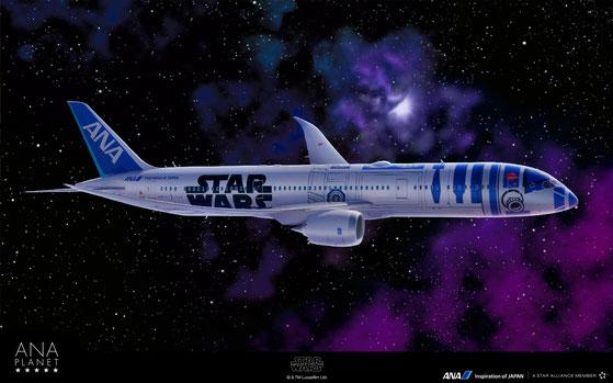 この壁紙はANA PLANET(http://ana-planet.com/)のキャンペーンでゲットしたR2-D2仕様の飛行機だよ!