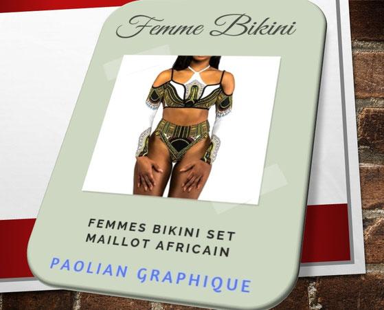 Paolian Femmes bikini set Maillot Africain Dashiki Graphique manches longues 57855
