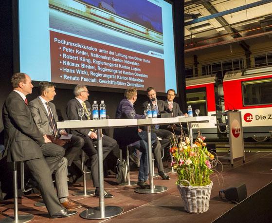 Podium zur Bahnfinanzierung (FABI) in Stansstad. Januar 2014