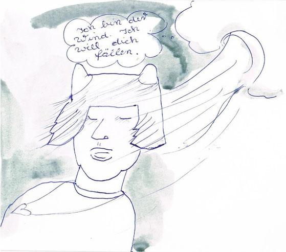 o.t. kugelschreiber/aquarell