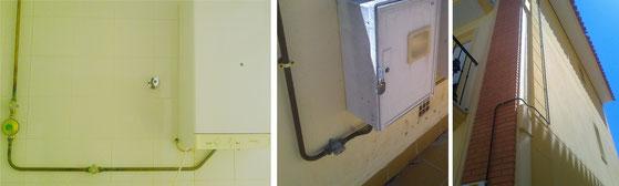 Válvulas de corte de propano en vivienda. Fotos de AprendEmergencias
