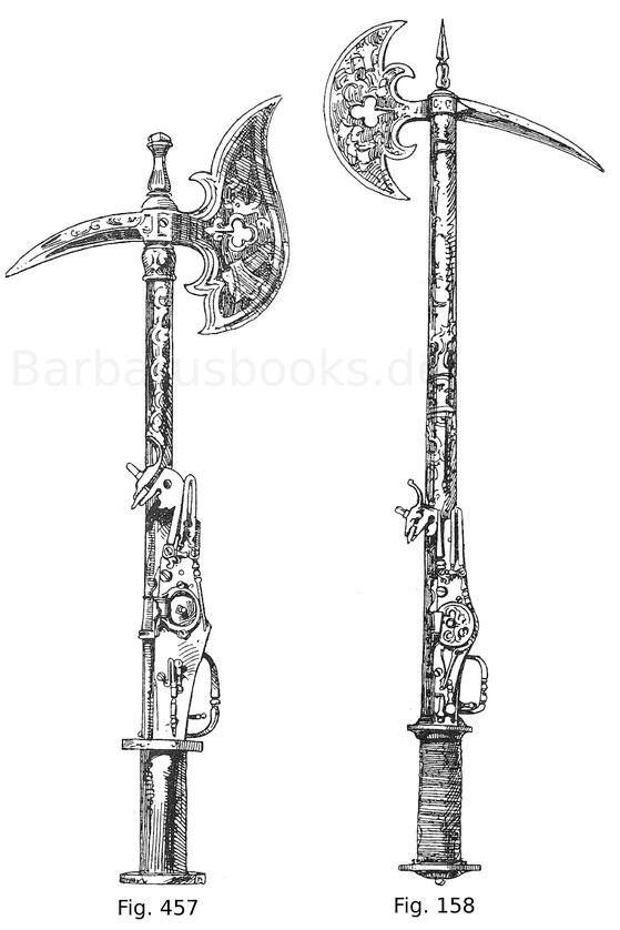 Fig. 457. Streithacke mit Schießvorrichtung italienischer Form. Der Stiel bildet den Lauf, dessen Spitze beim Gebrauch abzuschrauben ist. Alle Eisenteile sind reich in Schwarzätzung geziert. Zweite Hälfte 16. Jahrhundert. Königliches Historisches Museum i