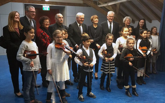 Hoher Besuch in der Geigen-AG: u.a. Bundespräsident Frank-Walter Steinmeier, Ministerpräsident Winfried Kretschmann, Oberbürgermeister Dr. Peter Kurz