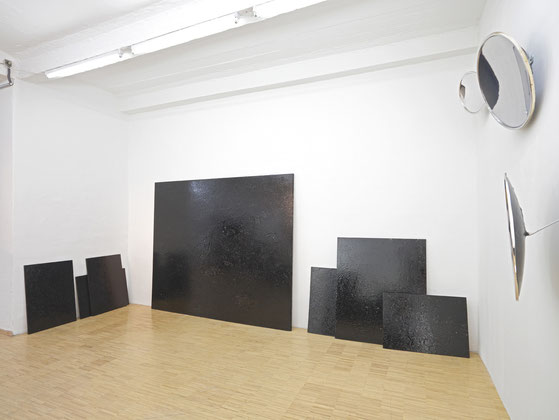 """Regaining Dimensions"", bitumen and rain on wood, dimensions variable, 2009"