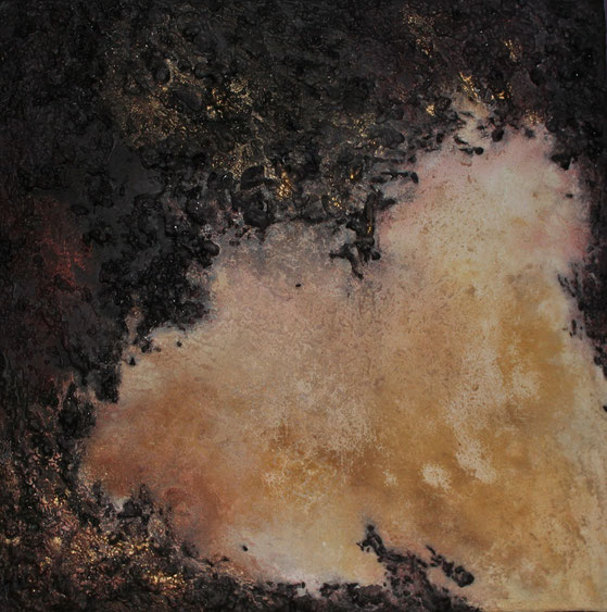 ohne Titel, 70 x 70 cm, Bauschaum, Sand, Acrylfarbe, verkauft