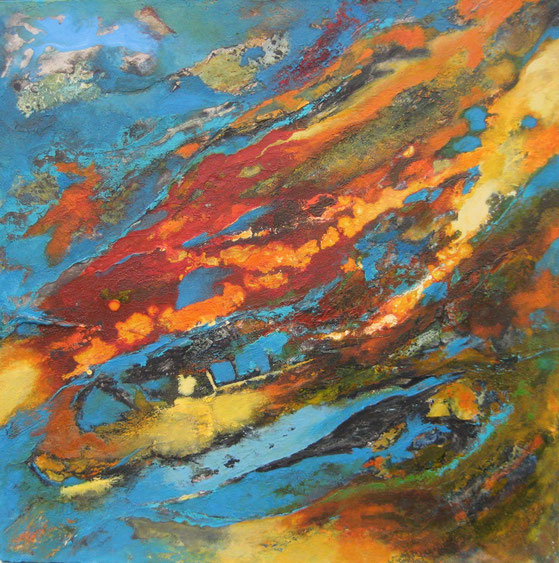 Aus der Reihe Atelier Erde, 75 x 75 cm, Spachtelmasse, Acrlfarbe, Tusche