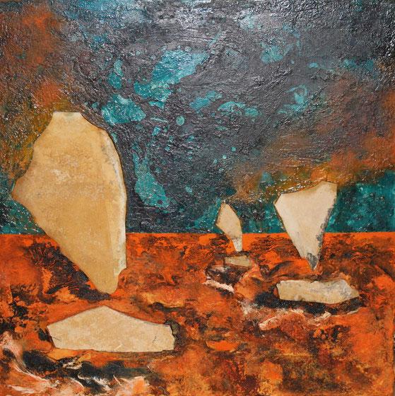 ohne Titel, 70 x 70 cm, Spachtelmasse, Acrylfarbe, Tusche, Steinplatten