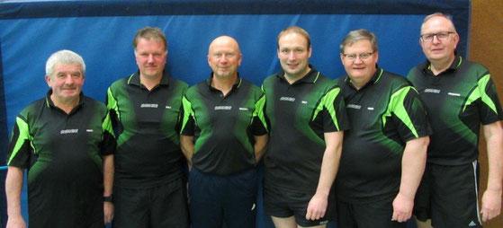 Die 1. TT-Mannschaft, Saison 2017/18, von links: Heinz Schröder, Ralf Steffens, Michael Hannebacher, Ralf von Kampen, Heiko Hannebacher, Hermann Fahlke