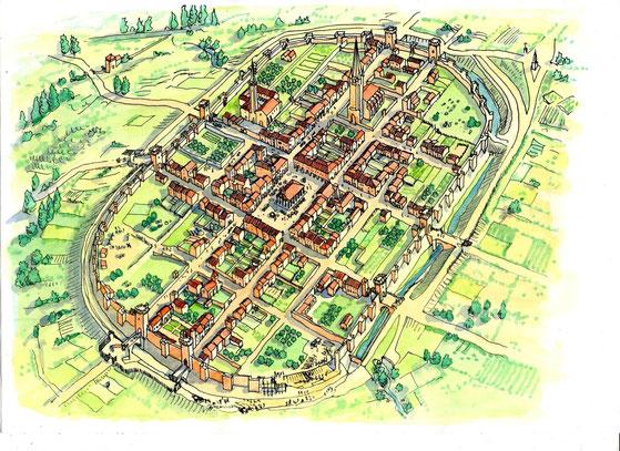 La bastide de Marciac en 1400 (B. Deubelbeisss)