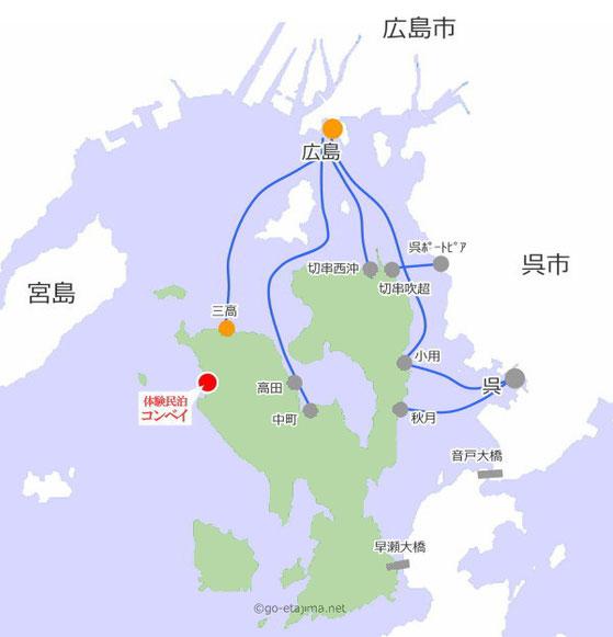 江田島体験民泊コンベイへのアクセスマップ