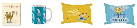 Brillenputztuch mit Kamel, Tasse mit Nilpferd, Schwamm - Voll mein Tag-Hund, Schwamm - Putzmunter Eule, Judith Ganter Illustration, Hamburg bei Rannenberg und Friends und Redbubble