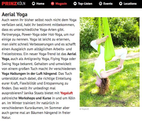 AERIAL YOGA Bericht auf www.prinz.de