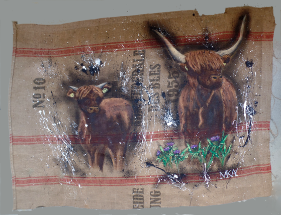 acrylic paintin highland cattle on jute