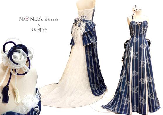 作州絣で製作したウエディングドレス