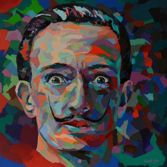 Portrait des Salvador Dali mit dem Palettenmesser in Acryl auf Leinwand gespachtelt.