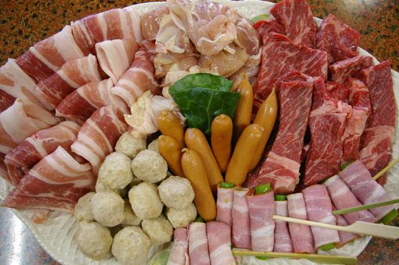 バーベキュー肉類のメニュ例