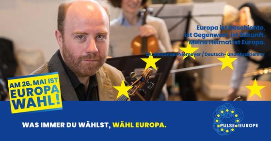 """Pulse-of-Europe-Europawahl-Statement von Dr. Alexander Niemeyer (stellv. Vorsitzender von """"Stockhausen für Europa"""" e. V.)"""