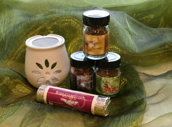 Räucherstövchen, Räucherkohle, Räuchermischungen: Elfenzauber, Heilige Nächte, Herbstaroma