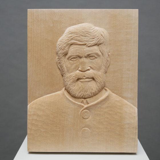 Platte aus Lindenholz 21x16cm Porträt eines Mannes+Frau im Flachrelief (Auftragsarbeit)