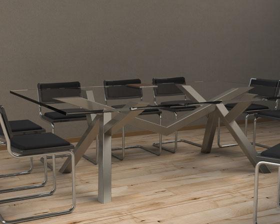 Pied de table de réunion en métal
