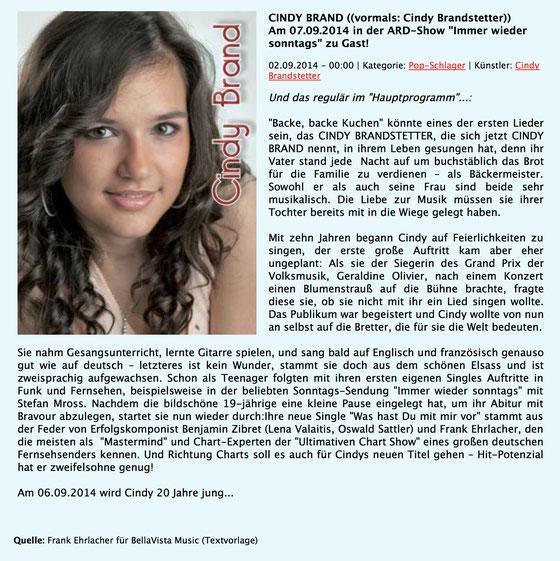 Artikel über Cindy Brand auf www.smago.de 2.9.2014