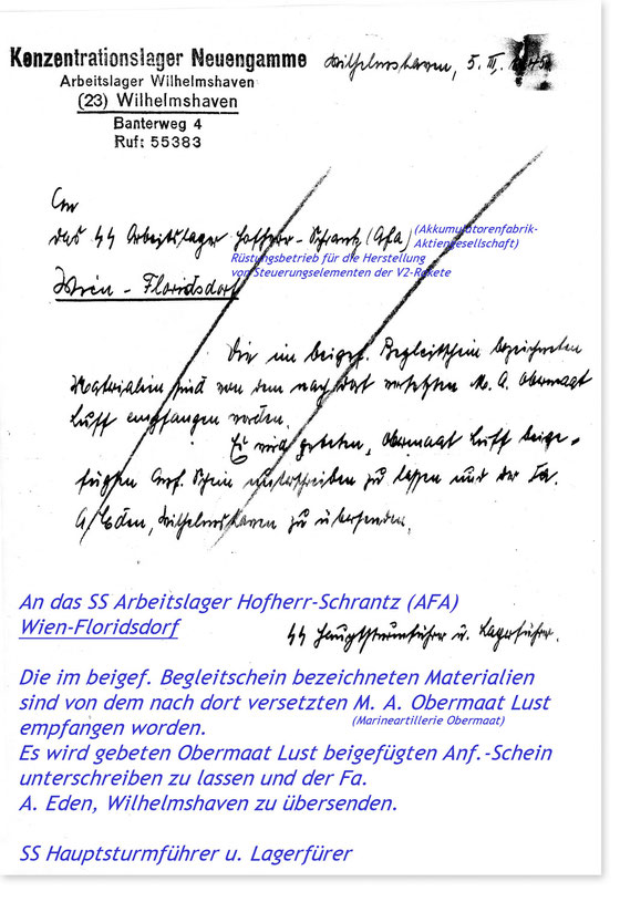 Dokument des Konzentrationslagers Neuengamme