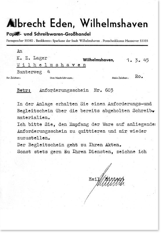 Korrespondenz mit dem KZ.-Lager Wilhelmshaven