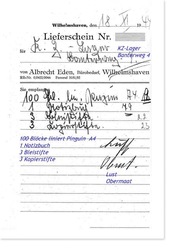 Lieferschein für das KZ-Lager Banterweg 4, Wilhelmshaven vom 18 November 1944
