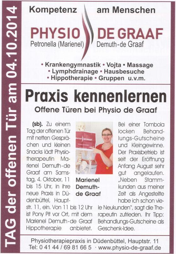 """Anzeige aus dem Magazin vom Wochenblatt """"Samtgemeinde Oldendorf - Himmelpforten 2014"""""""