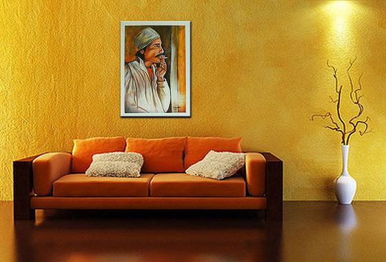 Wohnbeispiel - Gemälde Afrikabild - Marokkaner - Acrylmalerei Menschen Afrika Arabien - Marokko Acrylbild