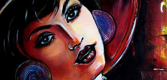 Bildausschnitt - Retro und Vintage Portrait - Acrylbild Malerei Gemälde - Frau mit Zigarre
