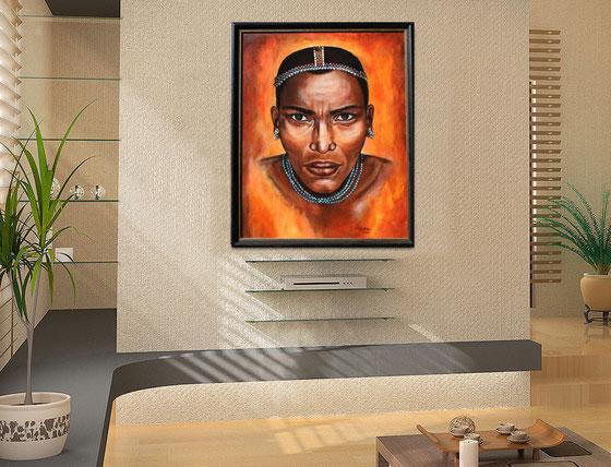 Wohnbeispiel - Afrika Mann Massai Gemälde - Afrikabid Massai - Afrika Krieger gemalt - Acrylbild Bewohner Kenia