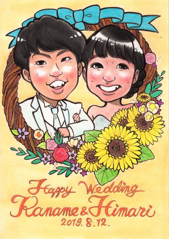 ウェルカムボード 結婚式 似顔絵 フラワーリース ドレス プレゼント おしゃれ かわいい あたたかい
