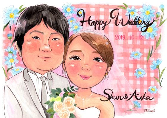 ウェルカムボード 結婚式 似顔絵 スキー スノーボード スノボ 冬 雪 プレゼント かわいい あたたかい