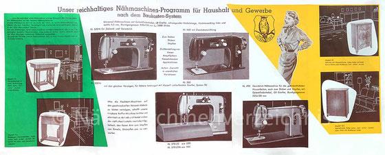 WEBA-Nähmaschinenprospekt, späte 50er Jahre