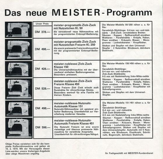Meister Produktübersicht 1970
