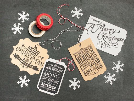 Etiketten mit Stempel Weihnachten