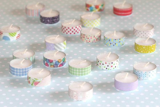 Masking-Tape-Idee: Teelichter mit Masking Tape umkleben