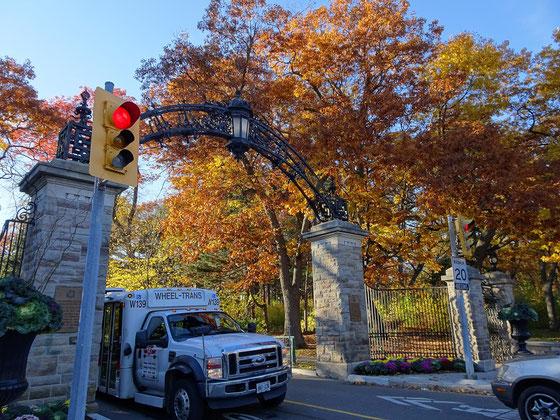 Herbst in Toronto: Dieses Tor erinnert an einen Serengeti-Park, ist aber ein Seiteneingang zu Torontos High Park.